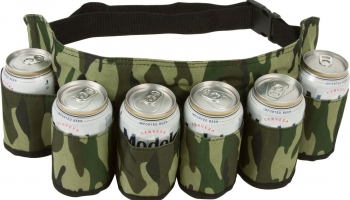 EZ Drinker Beer & Soda Can Holster Belt Holds 6 Beverages